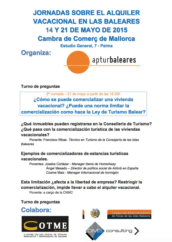 Jornadas alquiler vacacional – 21 Mayo – Palma